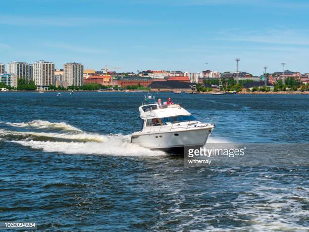Speedboat in Helsinki harbour, Finland