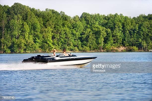 Speedboat on a lake