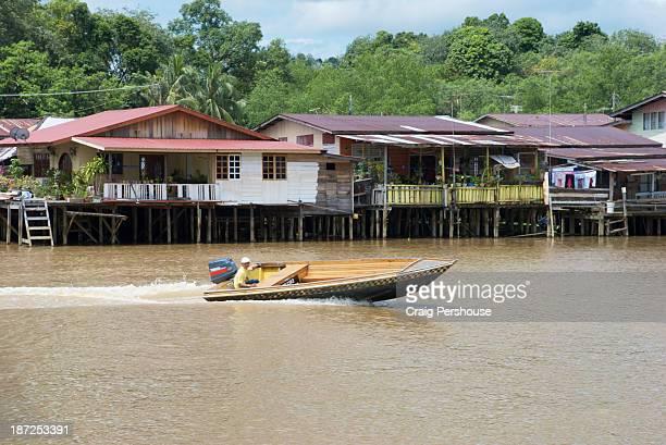 speedboat on sungai brunei (brunei river) - bandar seri begawan stock pictures, royalty-free photos & images