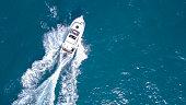 Speedboat roaring across the Mediterranean Sea