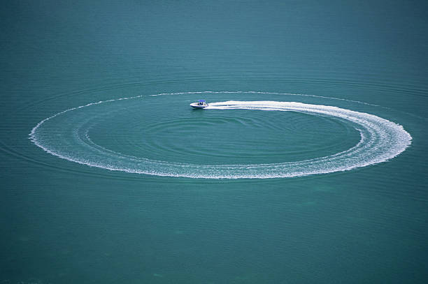 Speedboat with circular wake