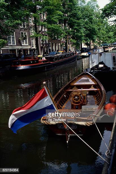 Speedboat with Dutch Flag on Canal