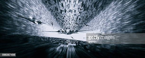 Speeding alien attack ships landing on mother ship