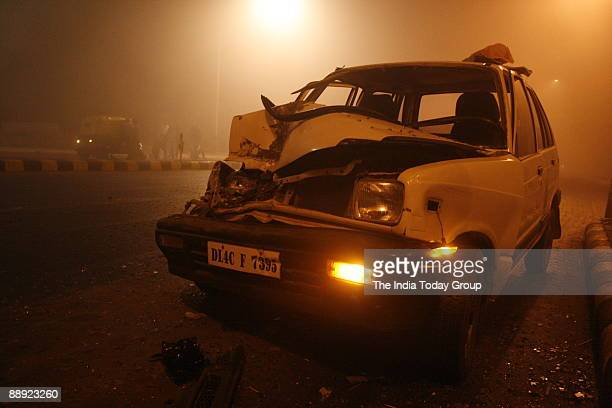 A speeding car met an accident at early in the morning due to fog at SP Marg New Delhi