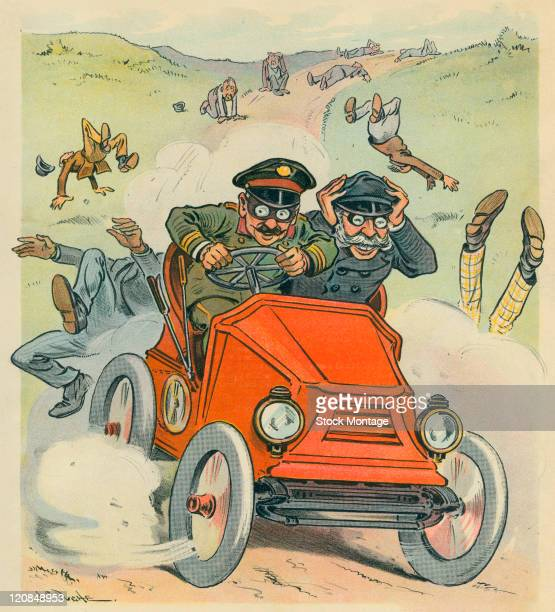 A speeding car which appears to have injured a number of people is shown in a cartoon from Puck magazine 1902 The car is being driven by the...