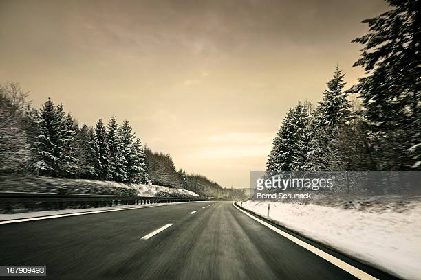 speeding into the winter landscape - bernd schunack stock photos and pictures
