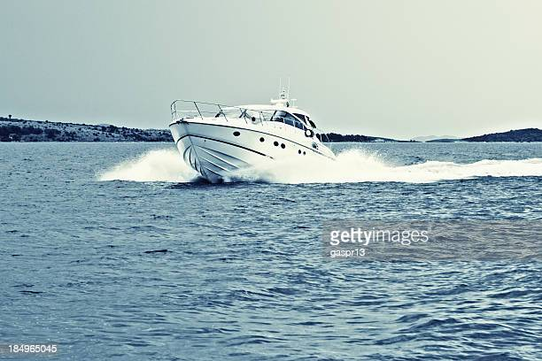 speeding powerboat