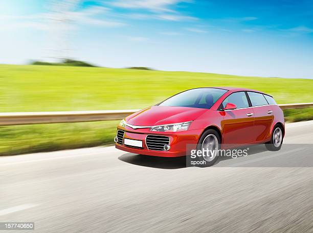 speeding red car - rushing the field stock pictures, royalty-free photos & images