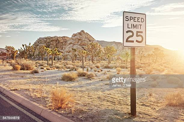 speeding sign in the desert
