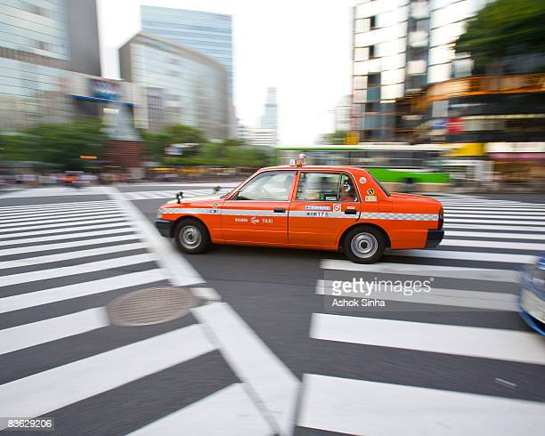 Speeding taxicab at crosswalk