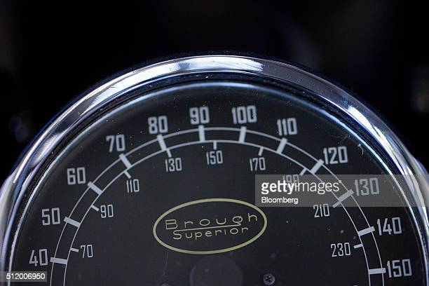 A speedometer sits on a Brough Superior SS100 luxury motorbike at the Brough Superior Motorcycles SAS factory in Toulouse France on Tuesday Feb 23...