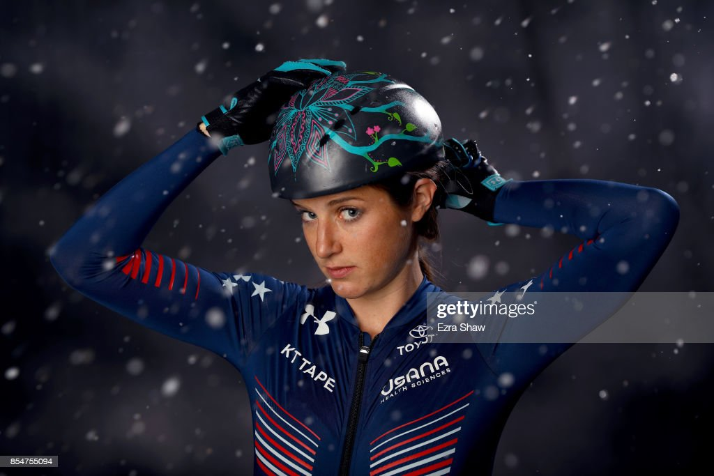 Speedskater Katherine Reutter-Adamek poses for a portrait during the Team USA Media Summit ahead of the PyeongChang 2018 Olympic Winter Games on September 27, 2017 in Park City, Utah.