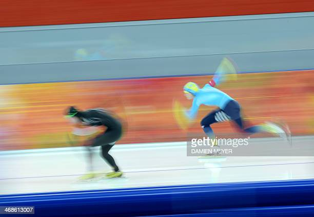 US speedskater Lauren Cholewinski competes in the Women's Speed Skating 500 m at the Adler Arena during the 2014 Sochi Winter Olympics on February 11...