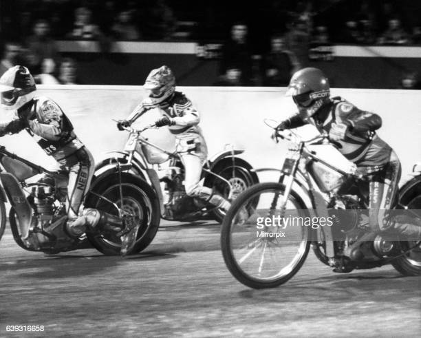Speedway action at Belle Vue from the opening night of the season with the Belle Vue Aces taking on the Colts Manchester 11th March 1984