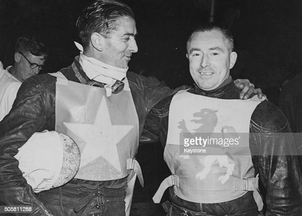 Speedway riders Norman Parker riding for Wimbledon and Bill Kitchen riding for Wembley pictured Wimbledon beating Wembley in the second leg of the...