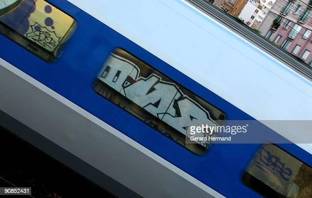 speedy graffiti - train graffiti stock photos and pictures