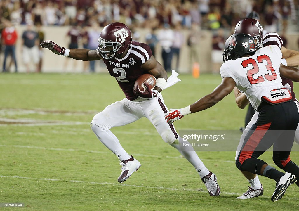Speedy Noil #2 of the Texas A&M Aggies runs with the ball in the second half of their game against the Ball State Cardinals at Kyle Field on September 12, 2015 in College Station, Texas.