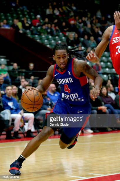 Speedy Smith of the Grand Rapids Drive charges past the Delaware 87ers at The DeltaPlex Arena for the NBA GLeague on DECEMBER 15 2017 in Grand Rapids...