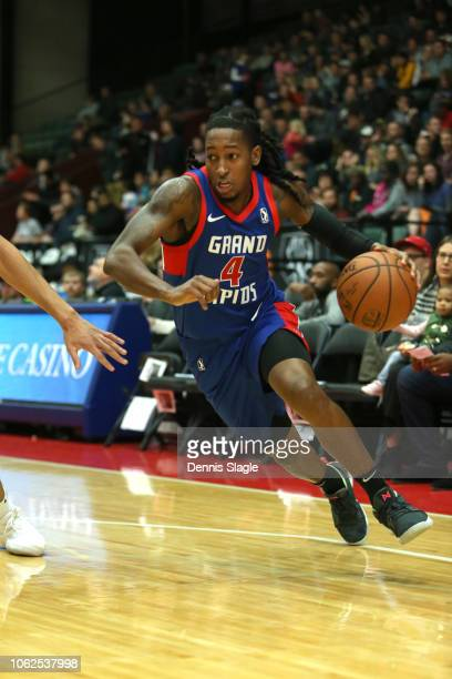Speedy Smith of the Grand Rapids Drive handles the ball against the Windy City Bulls at The DeltaPlex Arena for the NBA GLeague on NOVEMBER 16 2018...