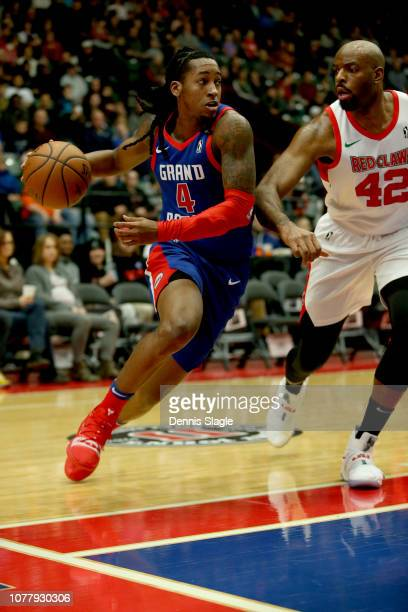 Speedy Smith of the Grand Rapids Drive handles the ball against the Maine Red Claws at The DeltaPlex Arena for the NBA GLeague on January 2019 in...