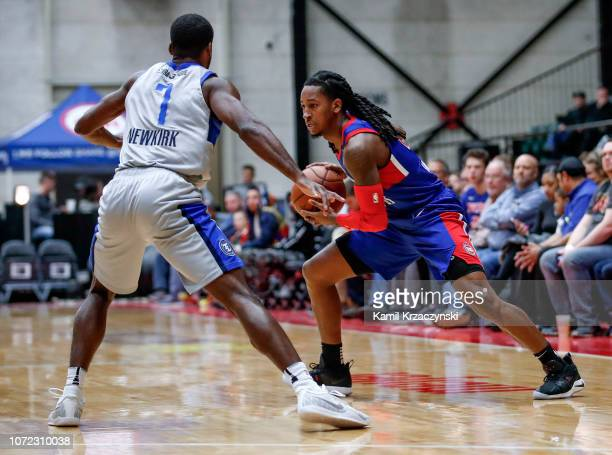 Speedy Smith of the Grand Rapids Drive looks to pass the ball against the Texas Legends on December 12 2018 at DeltaPlex Arena in Grand Rapids...