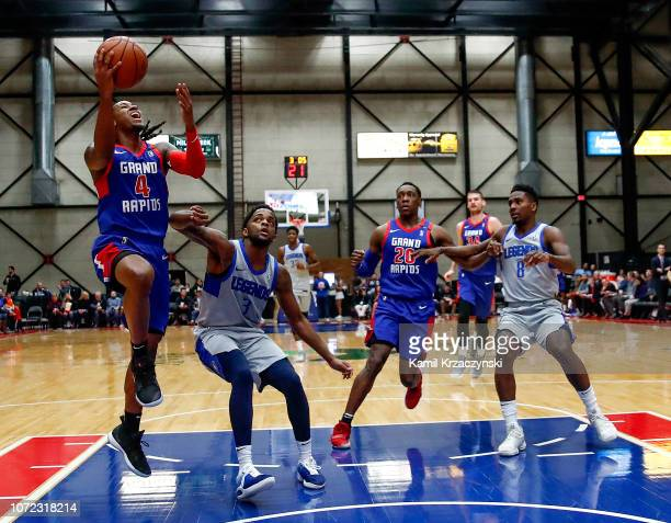 Speedy Smith of the Grand Rapids Drive shoots against Daryl Macon of the Texas Legends on December 12 2018 at DeltaPlex Arena in Grand Rapids...