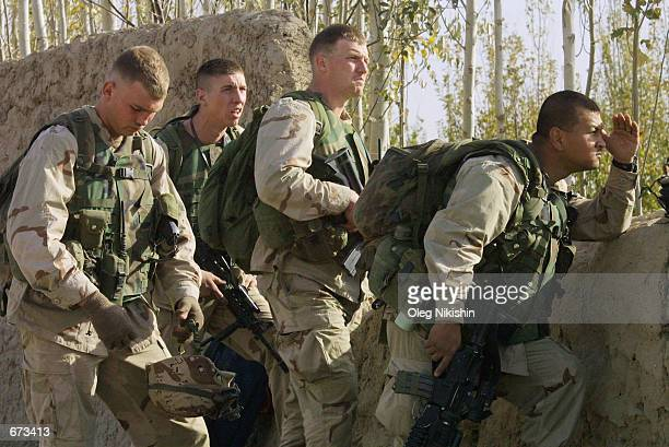 US speical operation soldiers prepare to battle against Taliban forces November 26 2001 at the fortress near MazareSharif Afghanistan The fighting...