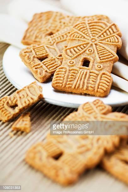Spekulatius cookies on plate