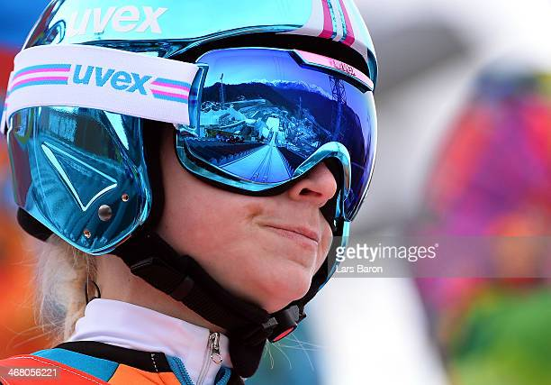 Spela Gogelj of Slovenia looks on during the Ladies' Normal Hill Individual Ski Jumping training on day 2 of the Sochi 2014 Winter Olympics at RusSki...