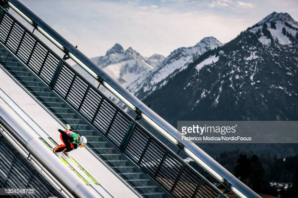 Spela Rogelj of Slovenia competes during the Women's Ski Jumping Team HS106 at the FIS Nordic World Ski Championships Oberstdorf at on February 26,...