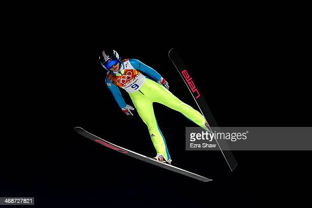 Spela Rogelj of Slovenia during the Ladies' Normal Hill Individual first round on day 4 of the Sochi 2014 Winter Olympics at the RusSki Gorki Ski...