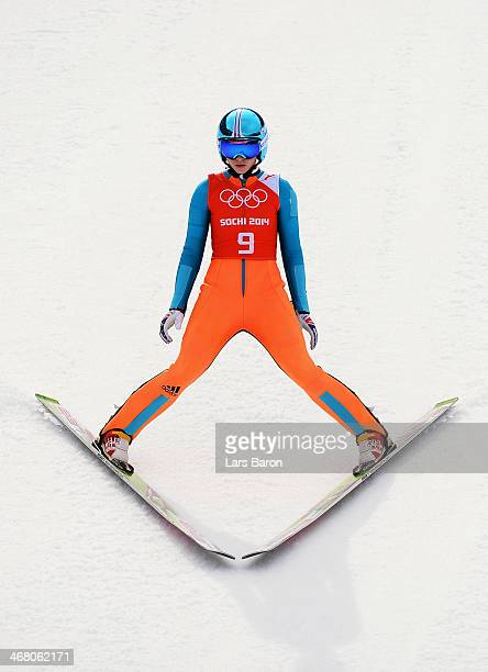 Spela Rogelj of Slovenia lands her jump during the Ladies' Normal Hill Individual Ski Jumping training on day 2 of the Sochi 2014 Winter Olympics at...