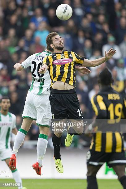 speler Yoell van Nieff of FC Groningen Davy Propper of Vitesse during the EL playoff match between FC Groningen and Vitesse Arnhem at Euroborg on May...