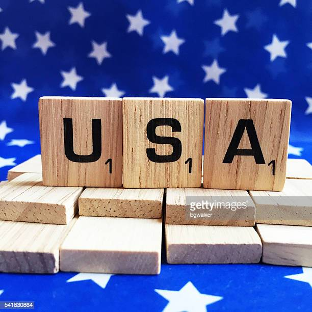 USA Spelled with Scrabble Tiles