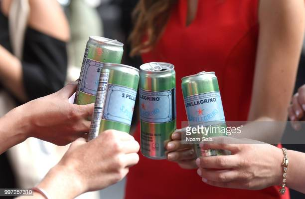Pellegrino hosts the firstofitskind Manhattanhenge viewing celebration high above the streets of New York on July 12 2018 in New York City