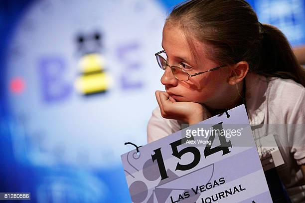 Speller Cheyenne Lawrence of Silver Springs Nevada listens during the oral section of the preliminary round of the 2008 Scripps National Spelling Bee...