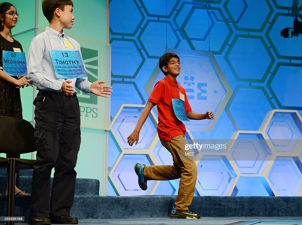 Speller Gokul Venkatachalam, of St. Louis, runs to the stage upon being named a finalist for the 2014 Scripps National Spelling Bee in National Harbor, Md., Thursday, May 29, 2014.