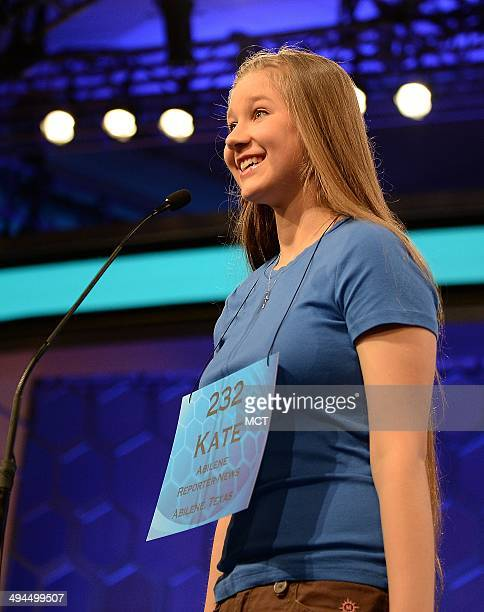 Speller Kate Miller of Abilene Texas competes in the finals of the 2014 Scripps National Spelling Bee in National Harbor Md Thursday May 29 2014