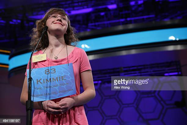 Speller Kimmie Collins of Terre Haute Indiana participates during round two of the 2014 Scripps National Spelling Bee competition May 28 2014 in...