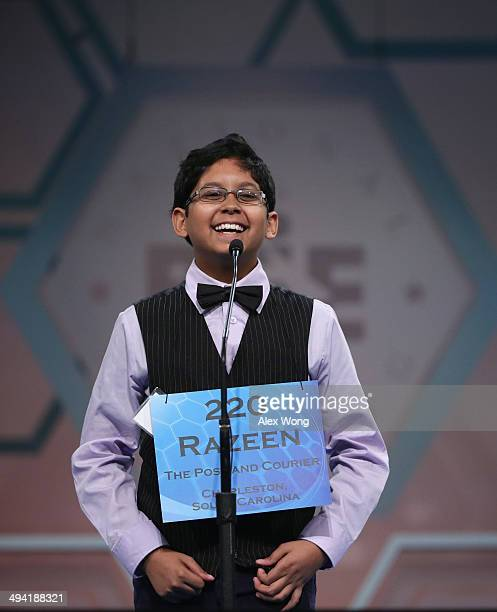 Speller Razeen Basunia of North Charleston South Carolina participates during round three of the 2014 Scripps National Spelling Bee competition May...