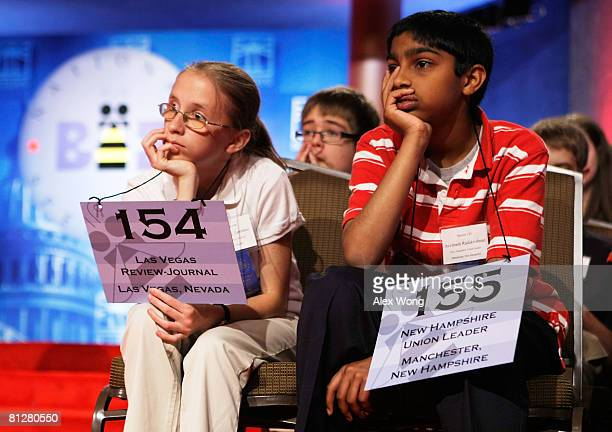 Spellers Cheyenne Lawrence of Silver Springs Nevada and Avvinash Radakrishnan of Nashua New Hampshire listen during the oral section of the...