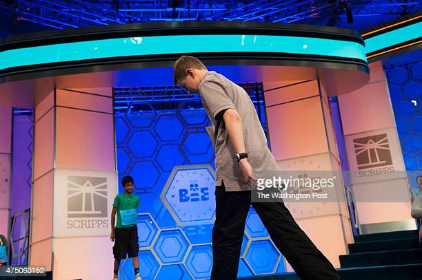 Spelling Bee contestant Jaren Rose of Twin Falls, Idaho, exits as he doesn't spell his word correctly at the Scripps National Spelling Bee...