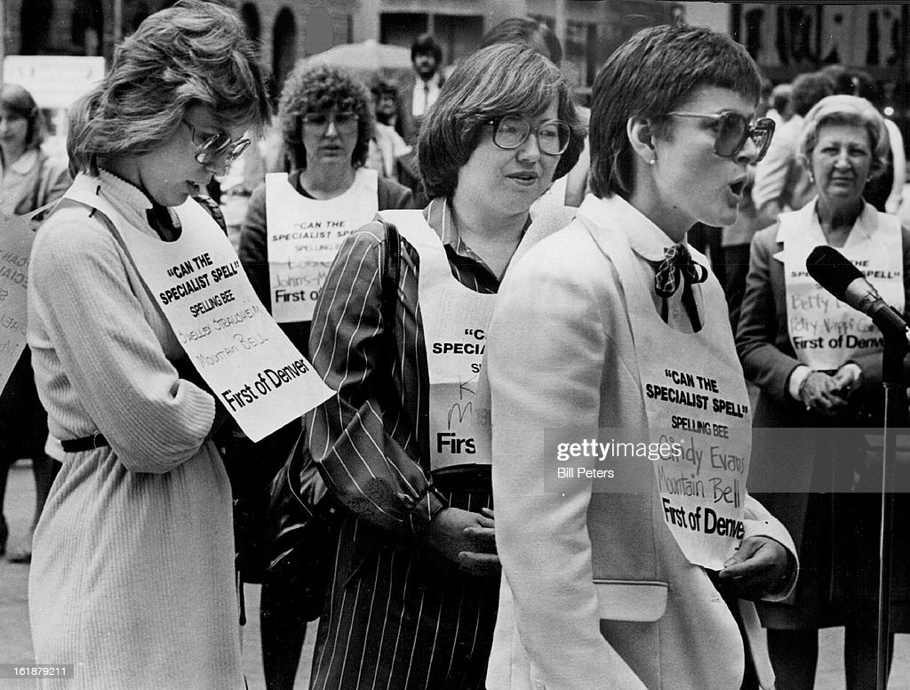 MAY 15 1981, MAY 16 1981; Spelling Bee Proves Even 'Specialists' Fallible; From left in foreground,  : News Photo