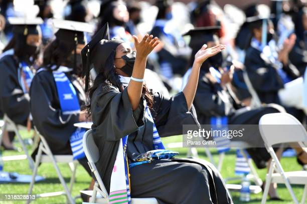 Spelman College graduate participate in 2020 & 2021 Spelman College Commencement at Bobby Dodd Stadium on May 16, 2021 in Atlanta, Georgia. Spelman...