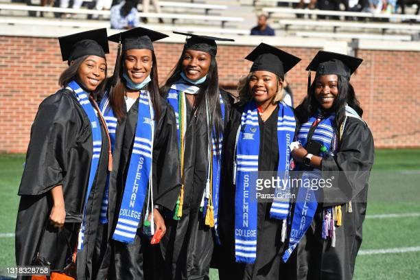 Spelman College graduates participate in 2020 & 2021 Spelman College Commencement at Bobby Dodd Stadium on May 16, 2021 in Atlanta, Georgia. Spelman...