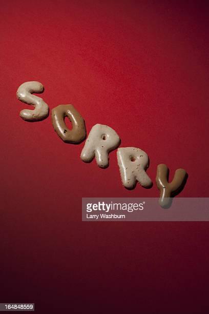 SORRY spelt in Russian bread cookies