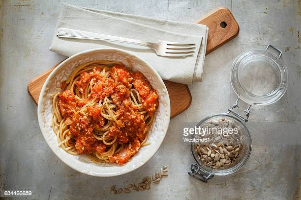 Spelt whole grain spaghetti with vegan Bolognese made of green spelt and sunflower seed