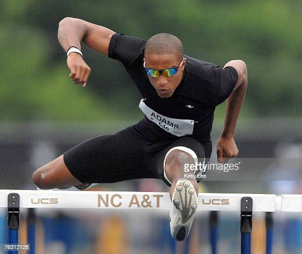 Spencer Adams wins 110-meter hurdle heat in 13.83 in the Nike Outdoor Nationals at North Carolina A&T's Aggie Stadium in Greensboro, N.C. On Friday,...