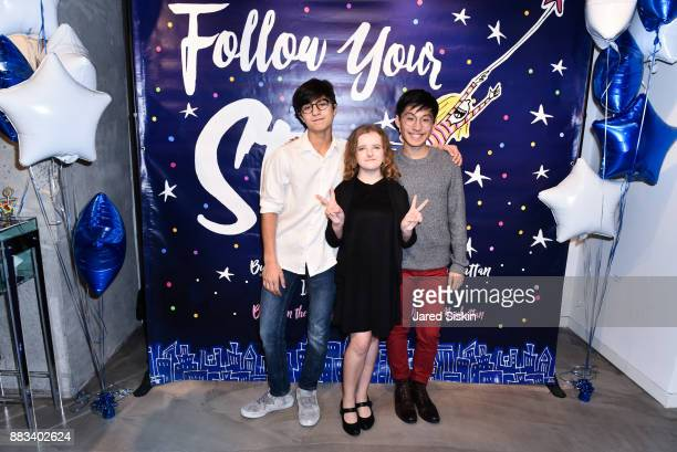 Spencer Arjang Milly Shapiro and Andy Liuu attend Follow Your Star Book Launch at 800 B Fifth Avenue on November 30 2017 in New York City