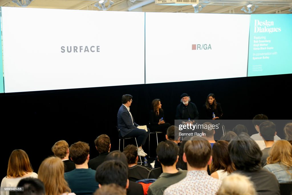 Spencer Bailey, Editor-In-Chief of Surface Magazine, Vimla Black Gupta, Chief Marketing Officer Equinox, Bob Greenberg, CEO of R/GA, and Kinjil Mathur, Chief Marketing Officer at Squarespace attend the Surface Design Dialogues No. 46 with R/GA on May 16, 2018 in New York City.